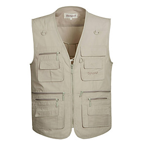 cheap Softshell, Fleece & Hiking Jackets-Men's Hiking Vest / Gilet Fishing Vest Outdoor Solid Color Lightweight Breathable Quick Dry Wear Resistance Top Single Slider Fishing Outdoor Exercise White / Army Green / Grey / Khaki / Brown