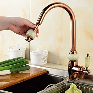 cheap Kitchen Faucets-Luxurious Kitchen faucet - Single Handle One Hole Pull-out / ­Pull-down / Tall / ­High Arc Contemporary Kitchen Taps / Brass