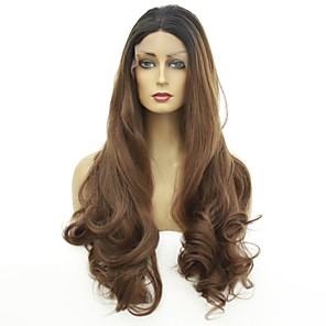 cheap Synthetic Trendy Wigs-Synthetic Lace Front Wig Ombre Body Wave Middle Part Lace Front Wig Ombre Long Ombre Black / Medium Auburn Synthetic Hair 22-26 inch Women's Heat Resistant Color Gradient Dark Roots Ombre / Glueless