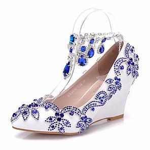 cheap Wedding Shoes-Women's PU(Polyurethane) Spring & Summer Sweet Wedding Shoes Wedge Heel Pointed Toe Rhinestone / Sparkling Glitter / Tassel Royal Blue