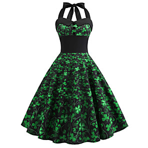 cheap Christmas Decorations-Carnival Masquerade Adults' Women's Halloween Carnival St Patricks Day Festival / Holiday Polyester Green Female Carnival Costumes Shamrock Novelty 3 Leaf