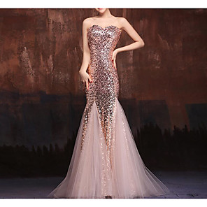 cheap Special Occasion Dresses-Mermaid / Trumpet Sparkle Pink Engagement Formal Evening Dress Sweetheart Neckline Floor Length Tulle Sequined with Sequin 2020