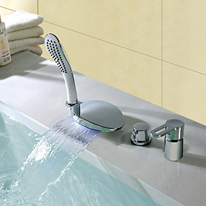 cheap Bathtub Faucets-Shower Faucet / Bathtub Faucet - Contemporary Chrome Widespread Ceramic Valve Bath Shower Mixer Taps