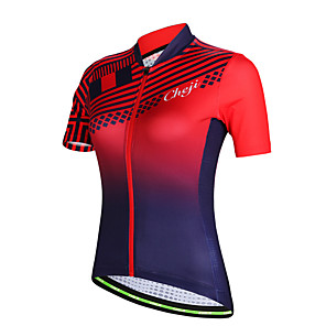 cheap Cycling Jerseys-cheji® Women's Short Sleeve Cycling Jersey Polyester Red Bike Jersey Top Mountain Bike MTB Road Bike Cycling Breathable Quick Dry Sports Clothing Apparel