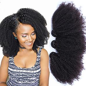 abordables Pelucas de Cabello Natural-3 paquetes Tejidos de cabello Cabello Mongol Afro Kinky Extensiones de Pelo Natural Pelo Natural Remy Paquetes 100% Remy Hair Weave 300 g Tejidos Humanos Cabello Extensiones Naturales 10-24 pulgada