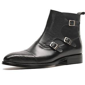 cheap Men's Slip-ons & Loafers-Men's Comfort Shoes Nappa Leather Fall & Winter Boots Mid-Calf Boots Black / Wine / Combat Boots