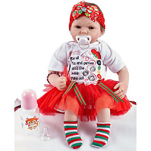 cheap Reborn Doll-FeelWind 20 inch Reborn Doll Girl Doll Baby Girl lifelike Handmade Cute Kids / Teen Non-toxic Cloth 3/4 Silicone Limbs and Cotton Filled Body with Clothes and Accessories for Girls' Birthday and