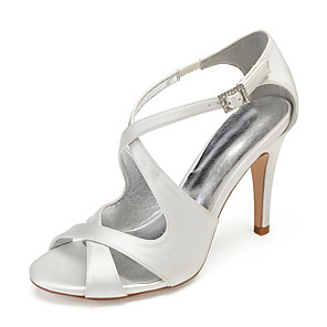 cheap Wedding Shoes-Women's Satin Spring & Summer Sweet Wedding Shoes Stiletto Heel Round Toe Rhinestone / Sparkling Glitter Burgundy / Champagne / Ivory / Party & Evening