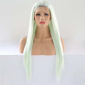 cheap Synthetic Lace Wigs-Synthetic Lace Front Wig Silky Straight Free Part Lace Front Wig Long Mint Green Synthetic Hair 24 inch Women's Adjustable Heat Resistant Women Green