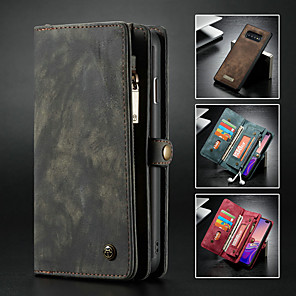 cheap Samsung Case-Caseme Case For Samsung Galaxy Galaxy S10 Wallet / Card Holder / with Stand Full Body Cases Solid Colored Hard PU Leather