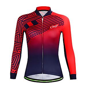 povoljno Biciklističke majice-cheji® Žene Dugih rukava Biciklistička majica Zima Runo Red+Blue Bicikl Biciklistička majica Majice Brdski biciklizam biciklom na cesti Prozračnost Sportski Odjeća