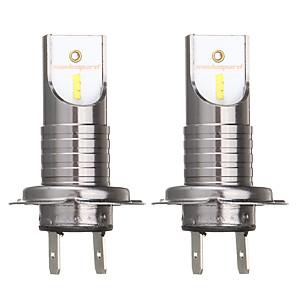 cheap Car Fog Lights-2Pcs H7 55W 26000LM 6000K Car LED Headlights Bulb White Fog Lamp IP68 Waterproof 12V 24V Conversion Kit Bulb 360 Degree Car Headlamp