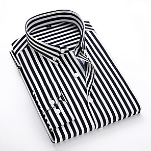 cheap Latin Dancewear-Men's Striped Shirt Daily Classic Collar White / Black / Blue / Red / Navy Blue / Light Blue / Long Sleeve