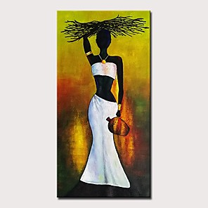 cheap Framed Arts-Oil Painting Hand Painted - Abstract People Modern Rolled Canvas