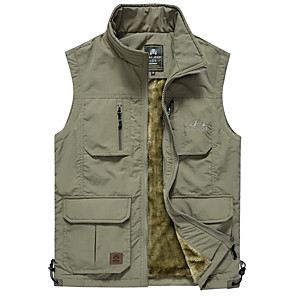 cheap Softshell, Fleece & Hiking Jackets-Men's Hiking Vest / Gilet Fishing Vest Winter Outdoor Solid Color Windproof Quick Dry Wear Resistance Multi Pocket Top Cotton Single Slider Fishing Outdoor Exercise Camping / Hiking / Caving Army