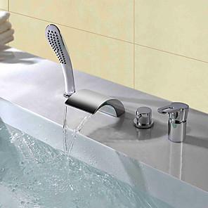 cheap Bathtub Faucets-Shower Faucet / Bathtub Faucet - Contemporary Chrome Widespread Ceramic Valve Bath Shower Mixer Taps
