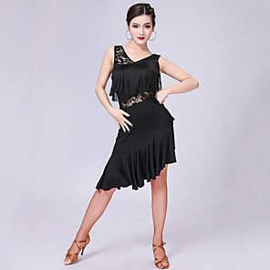 cheap Latin Dancewear-Latin Dance Dress Lace Tassel Split Joint Women's Performance Sleeveless High Milk Fiber