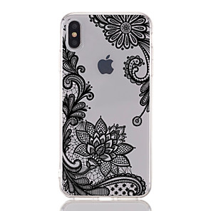 cheap iPhone Cases-Case For Apple iPhone XS / iPhone XR / iPhone XS Max Transparent / Pattern Back Cover Lace Printing / Flower Soft TPU