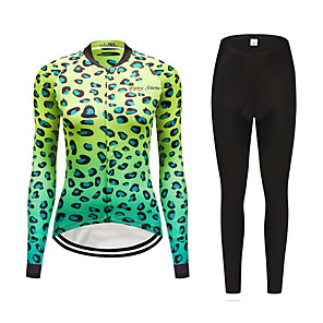 cheap Cycling Jersey & Shorts / Pants Sets-FirtySnow Women's Long Sleeve Cycling Jersey with Tights Winter Fleece Polyester Green Leopard Bike Clothing Suit Thermal / Warm Windproof Fleece Lining Sports Leopard Mountain Bike MTB Road Bike