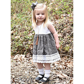 cheap Baby Girls'  Dresses-Baby Girls' Basic Color Block Sleeveless Cotton Dress White / Toddler