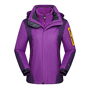 cheap Tattoo Power Supplies-Women's Hiking Jacket Outdoor Thermal / Warm Windproof UV Resistant Rain Waterproof 3-in-1 Jacket Winter Jacket Top Double Sliders Climbing Camping / Hiking / Caving Snowsports Purple / Fuchsia / Red