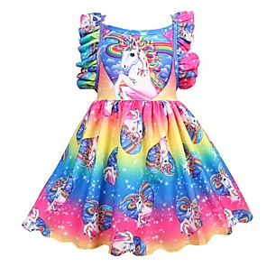 cheap Movie & TV Theme Costumes-Kids Girls' Active Holiday Unicorn Patchwork Pleated Sleeveless Knee-length Dress Rainbow