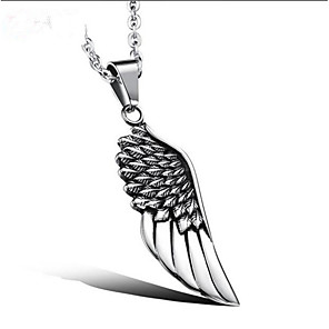 cheap Pendant Necklaces-Men's Pendant Necklace Classic Angel Wings Fashion Steel Stainless Silver 51 cm Necklace Jewelry 1pc For Gift Daily