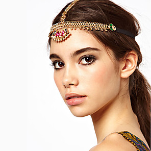 cheap Ethnic & Cultural Costumes-American Indian Headpiece Adults' Bohemian Style Women's Golden Acrylic / Artificial Gemstones / Alloy Party Cosplay Accessories Halloween / Carnival / Masquerade Costumes / Female