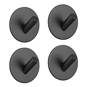 cheap Bathroom Accessory Set-Adhesive Hooks Heavy Duty 4 pack Durable 304 Stainless Steel Wall Hangers, Waterproof Rustproof Oil Proof for Kitchen, Bathrooms, Doors, Office, Closet-Black