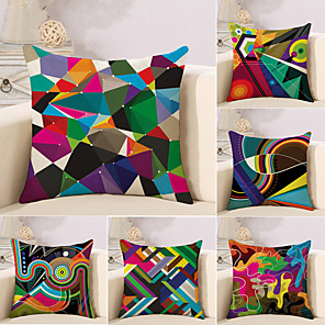 cheap Throw Pillow Covers-Set of 6 Cotton / Linen Pillow Case, Striped Lines / Waves Geometic Abstract Throw Pillow