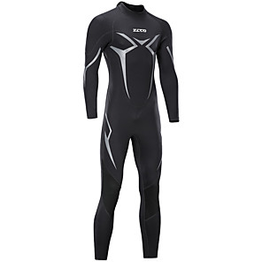 cheap Wetsuits, Diving Suits & Rash Guard Shirts-ZCCO Men's Full Wetsuit 3mm Nylon SCR Neoprene Diving Suit Thermal / Warm Windproof Stretchy Long Sleeve Back Zip - Diving Water Sports Solid Colored Letter & Number Autumn / Fall Spring Summer