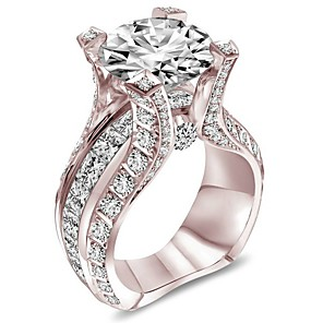 cheap Jewelry Sets-Women's Band Ring Ring Cubic Zirconia 1pc White Rose Gold Copper Rose Gold Plated Silver-Plated Geometric Four Prongs Stylish Luxury European Wedding Party Jewelry Classic Cool