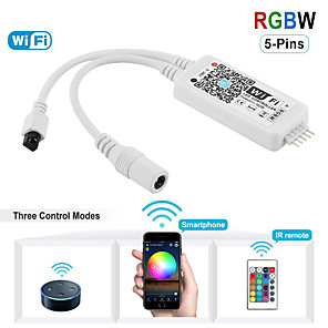 cheap Lamp Bases & Connectors-KWB 1 PCS WiFi Wireless LED Smart Controller Alexa Google Home IFTTT CompatibleWorking with AndroidiOS SystemRGBW Strip Lights DC5V-28V