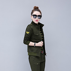 cheap Hiking Shirts-Women's Camo Hiking Shirt with Pants Long Sleeve Outdoor Lightweight Breathable Quick Dry Wear Resistance Clothing Suit Autumn / Fall Spring Cotton Elastane Hunting Climbing Camping / Hiking / Caving