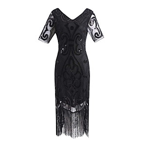 cheap Historical & Vintage Costumes-The Great Gatsby Charleston Vintage 1920s Flapper Dress Party Costume Masquerade Women's Lace Sequins Tassel Sequin Costume Black / Black+Golden / Black+Sliver Vintage Cosplay Party Homecoming Prom