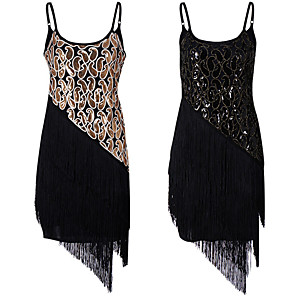 cheap Historical & Vintage Costumes-The Great Gatsby Tassel 1920s The Great Gatsby Roaring 20s Summer Flapper Dress Women's Girls' Costume Black / Golden Vintage Cosplay Homecoming