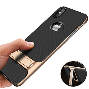 cheap iPhone Cases-Case For Apple iPhone XS / iPhone XR / iPhone XS Max Shockproof / with Stand / Plating Back Cover Solid Colored Hard TPU