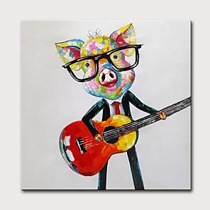 povoljno Slike sa životinjskim motivima-Hang oslikana uljanim bojama Ručno oslikana - Sažetak Pop art Moderna Uključi Unutarnji okvir