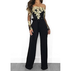 cheap Women's Heels-Women's Black Wine Gold Jumpsuit Floral Lace Tulle Chiffon Lace Cotton / Wide Leg