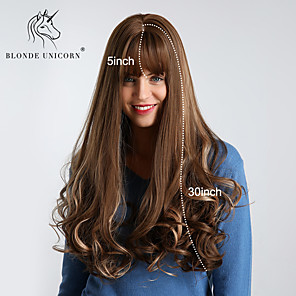 cheap Synthetic Trendy Wigs-Synthetic Wig Bouncy Curl Loose Wave With Bangs Wig Very Long Brown Synthetic Hair 30 inch Women's Synthetic Best Quality Ombre Hair Dark Brown BLONDE UNICORN / Natural Hairline / Natural Hairline