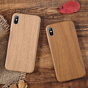 cheap iPhone Cases-Case For Apple iPhone XS / iPhone XR / iPhone XS Max Shockproof / Ultra-thin Back Cover Wood Grain Soft TPU