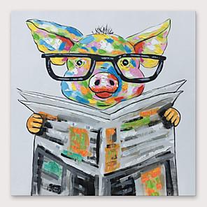 povoljno Slike sa životinjskim motivima-Hang oslikana uljanim bojama Ručno oslikana - Sažetak Moderna Uključi Unutarnji okvir