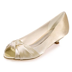cheap Wedding Shoes-Women's Satin Spring & Summer Minimalism Wedding Shoes Kitten Heel Peep Toe Royal Blue / Champagne / Ivory / Party & Evening