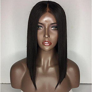 cheap Synthetic Lace Wigs-Synthetic Lace Front Wig Straight Middle Part Lace Front Wig Short Black#1B Synthetic Hair 14 inch Women's Adjustable Heat Resistant Women Black