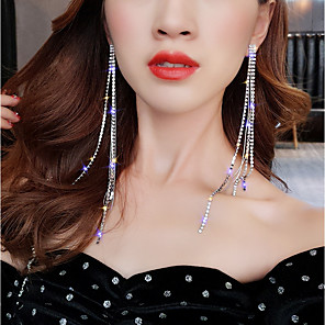 cheap Earrings-Women's Drop Earrings Hanging Earrings Long Dangling Elegant Bling Bling everyday fancy Iced Out Imitation Diamond Earrings Jewelry Silver For Wedding Party Carnival Club Bar 1 Pair