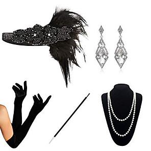 cheap Historical & Vintage Costumes-The Great Gatsby Charleston 1920s The Great Gatsby Costume Accessory Sets Masquerade Women's Costume Bead Bracelet Pearl Necklace Black Vintage Cosplay Party Halloween / 1 Necklace / Gloves