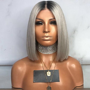cheap Synthetic Trendy Wigs-Costume Accessories Straight With Bangs Wig Short Grey Synthetic Hair 35 inch Women's Women Gray
