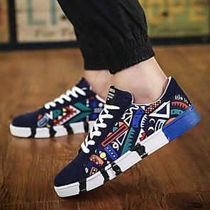 cheap Men's Sneakers-Men's Comfort Shoes Canvas Spring Sneakers Black / White / Blue