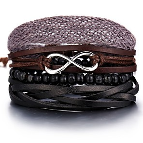 cheap Pendant Necklaces-Men's Bead Bracelet Leather Bracelet Loom Bracelet Retro Weave Infinity Classic Vintage European Casual / Sporty Leather Bracelet Jewelry Brown For Street Holiday Going out Work