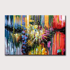 cheap Abstract Paintings-Oil Painting Hand Painted - Abstract Holiday Classic Modern Rolled Canvas